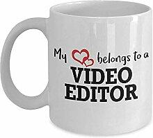 Tasse Mein Herz Gehört Einem Videobearbeiter
