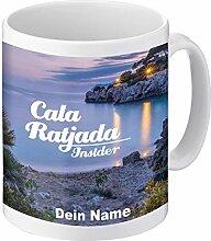 Tasse mit Cala Ratjada Motiv und eigenem Namen |