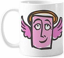 Tasse mit Engel-Motiv, abstraktes Gesicht,