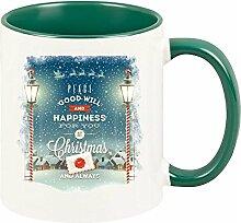 Tasse mit grünem Henkel & romantischem Weihnachtsbild (mit Laterne)- Vater- Mutter-Geschwister-Oma-Opa-Freunde-Kaffeebecher, Becher, Tasse - Geschirr- Weihnachtsgeschenk, Geschenkidee
