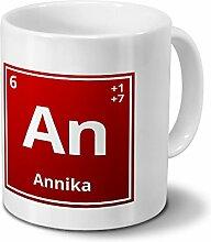 Tasse mit Namen Annika als Element-Symbol des