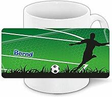 Tasse mit Namen Bernd und grünem Fußballer-Motiv