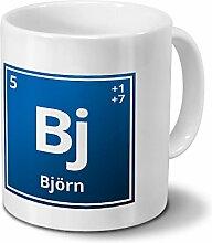 Tasse mit Namen Björn als Element-Symbol des