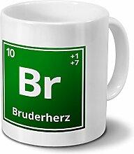 Tasse mit Namen Bruderherz als Element-Symbol des