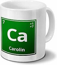 Tasse mit Namen Carolin als Element-Symbol des