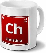 Tasse mit Namen Christina als Element-Symbol des