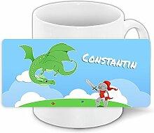 Tasse mit Namen Constantin und Ritter-Motiv mit