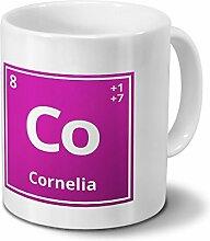 Tasse mit Namen Cornelia als Element-Symbol des