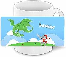 Tasse mit Namen Damian und Ritter-Motiv mit Drache