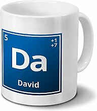 Tasse mit Namen David als Element-Symbol des