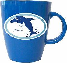 Tasse mit Namen, Delphin, Krake, Seepferdchen, Wal, Piranha, Hai, Becher bunt von Finlix