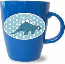 Tasse mit Namen, Dinos, Dinosaurier, Becher bunt von Finlix