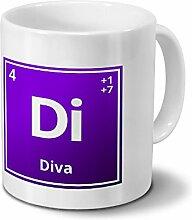 Tasse mit Namen Diva als Element-Symbol des