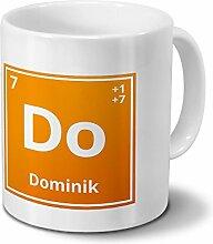 Tasse mit Namen Dominik als Element-Symbol des