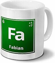 Tasse mit Namen Fabian als Element-Symbol des