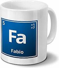 Tasse mit Namen Fabio als Element-Symbol des