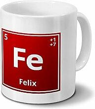 Tasse mit Namen Felix als Element-Symbol des
