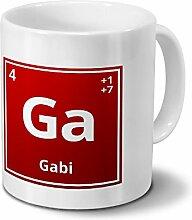 Tasse mit Namen Gabi als Element-Symbol des
