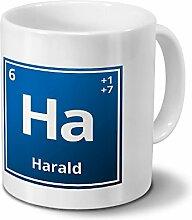 Tasse mit Namen Harald als Element-Symbol des