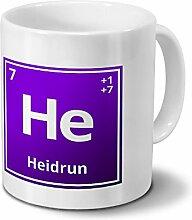 Tasse mit Namen Heidrun als Element-Symbol des