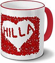Tasse mit Namen Hilla - Motiv Blumenherz -