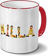 Tasse mit Namen Hilla - Motiv Holzbuchstaben -