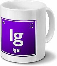 Tasse mit Namen Igel als Element-Symbol des