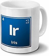 Tasse mit Namen Iris als Element-Symbol des