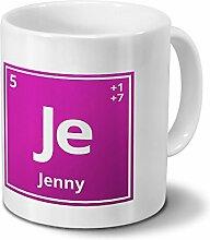 Tasse mit Namen Jenny als Element-Symbol des