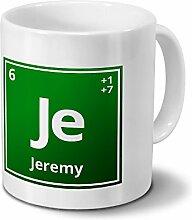 Tasse mit Namen Jeremy als Element-Symbol des