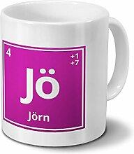 Tasse mit Namen Jörn als Element-Symbol des