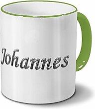 Tasse mit Namen Johannes - Motiv Chrom-Schriftzug
