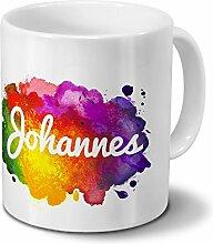 Tasse mit Namen Johannes - Motiv Color Paint -