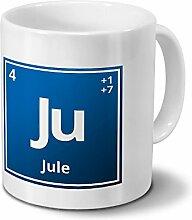 Tasse mit Namen Jule als Element-Symbol des