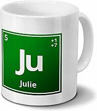 Tasse mit Namen Julie als Element-Symbol des