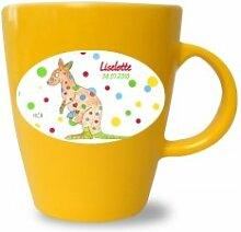 Tasse mit Namen, Känguru, Pferd, Wikinger, Wikingermädchen, Delphin, Hund, Becher bunt von Finlix