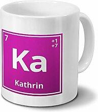 Tasse mit Namen Kathrin als Element-Symbol des