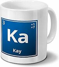Tasse mit Namen Kay als Element-Symbol des