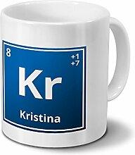 Tasse mit Namen Kristina als Element-Symbol des