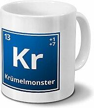 Tasse mit Namen Krümelmonster als Element-Symbol