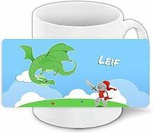 Tasse mit Namen Leif und Ritter-Motiv mit Drache