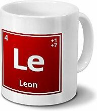Tasse mit Namen Leon als Element-Symbol des