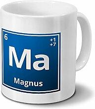 Tasse mit Namen Magnus als Element-Symbol des