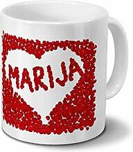 Tasse mit Namen Marija - Motiv Rosenherz -