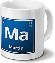 Tasse mit Namen Martin als Element-Symbol des