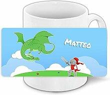 Tasse mit Namen Matteo und Ritter-Motiv mit Drache