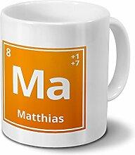 Tasse mit Namen Matthias als Element-Symbol des