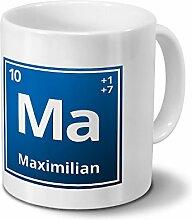 Tasse mit Namen Maximilian als Element-Symbol des