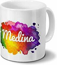Tasse mit Namen Medina - Motiv Color Paint -