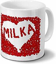 Tasse mit Namen Milka - Motiv Rosenherz - Namenstasse, Kaffeebecher, Mug, Becher, Kaffeetasse - Farbe Weiß